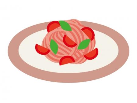トマトソースのパスタのイラスト