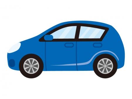 青いコンパクトカーのイラスト