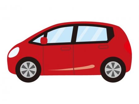 赤いコンパクトカーのイラスト