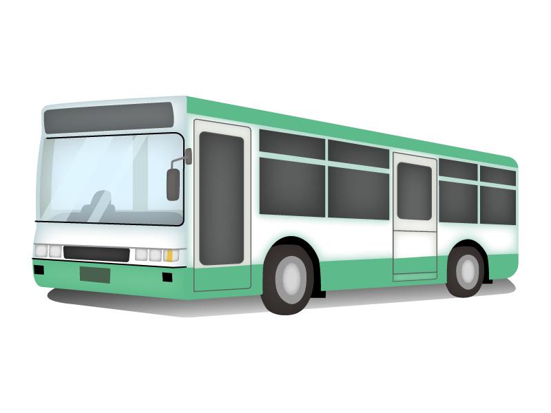 白と緑色の路線バスのイラスト