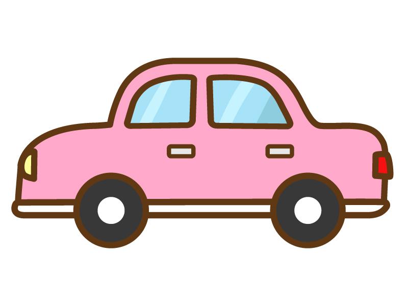 ピンク色の手書き風の自動車のイラスト