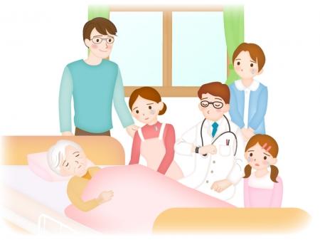 在宅介護での看取りのイラスト