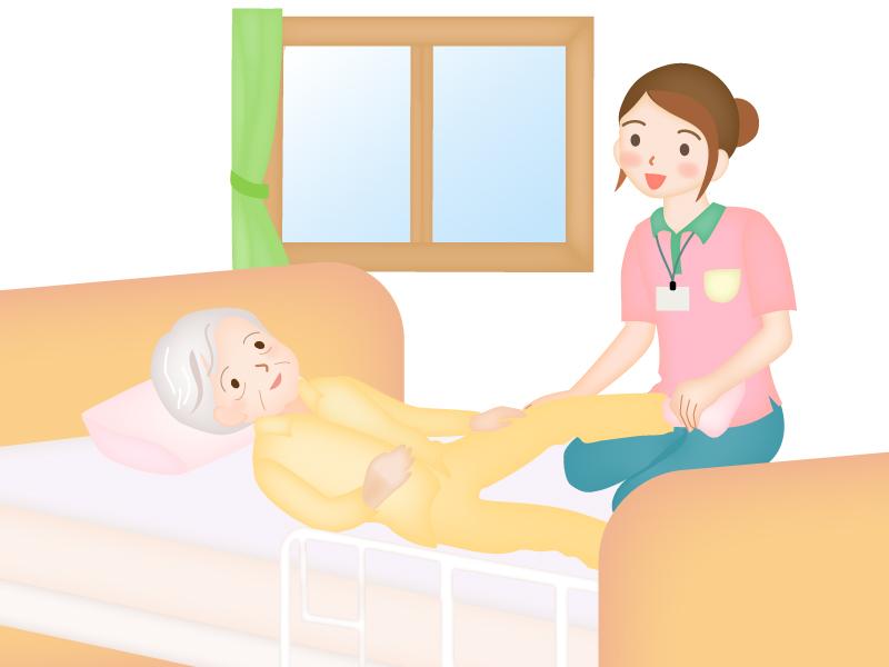 訪問リハビリする介護士さんのイラスト