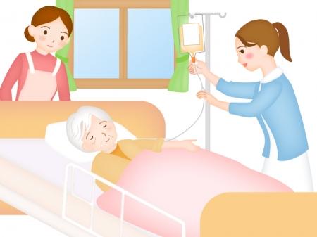 訪問診療で点滴をする看護師さんのイラスト