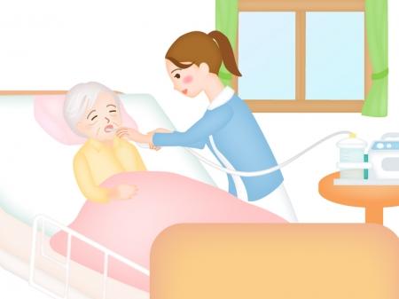 訪問診療で痰(たん)を吸引する看護師さんのイラスト