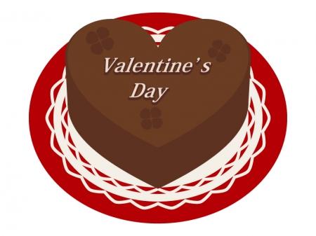 バレンタイン・ハート型のチョコレートケーキのイラスト