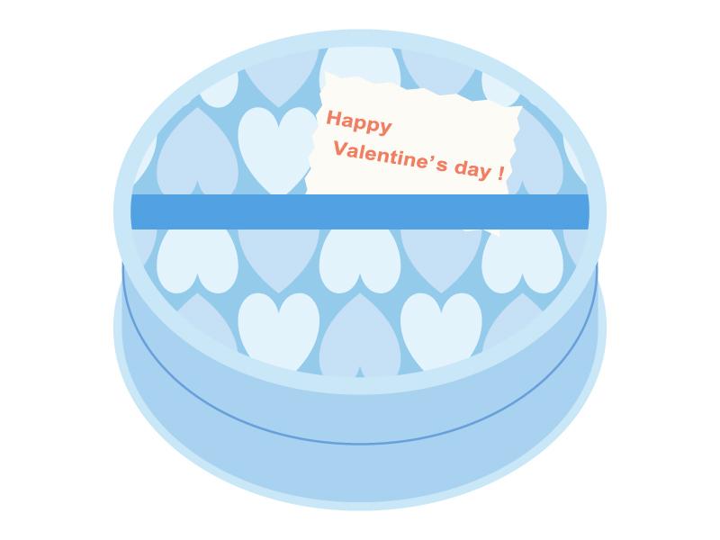 バレンタイン・水色のハート模様のチョコレート箱のイラスト