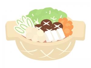 野菜やきのこなどの寄せ鍋のイラスト