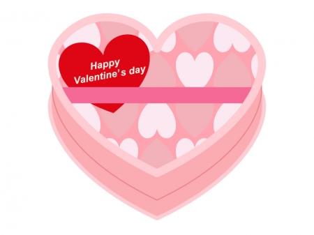 バレンタイン・ピンクのハートのチョコレート箱イラスト