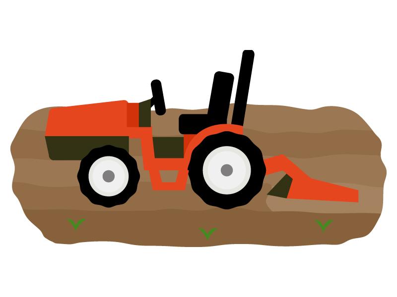 畑とトラクターのイラスト