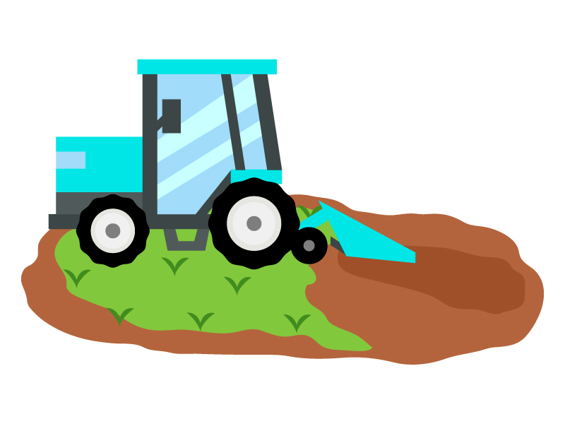 畑とトラクターのイラスト02