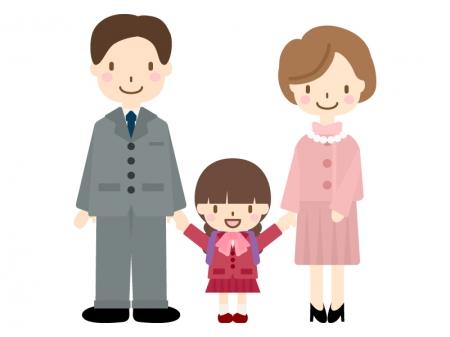 親子で入学式(小学校一年生)のイラスト02