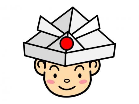 こどもの日・紙かぶとをかぶる男の子のイラスト02