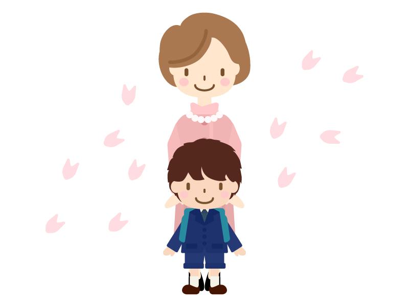 お母さんと入学式(小学校一年生)のイラスト