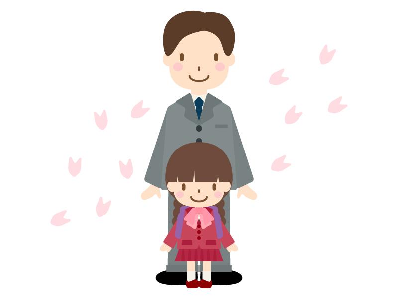 お父さんと入学式(小学校一年生)のイラスト