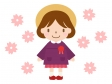 桜と園児のイラスト