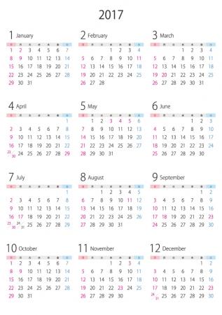 A4縦・2017年(平成29年)1月~12月の年間カレンダー02