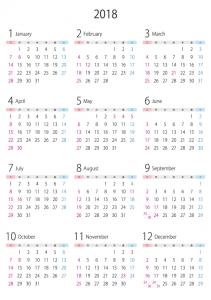 A4縦・2018年(平成30年)1月~12月の年間カレンダー02