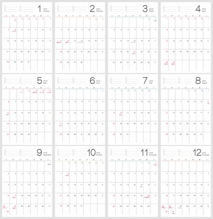 シンプルな2018年1~12月(平成30年)カレンダー・A4印刷用