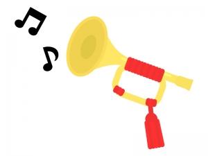 楽器・ラッパと音符のイラスト02