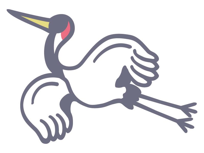 飛んでいる鶴のイラスト02