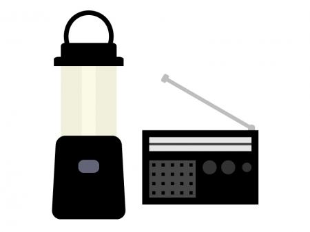 防災グッズ・ランプとラジオのイラスト