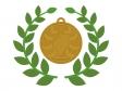 銅メダルと月桂樹のイラスト