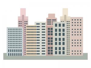 ビル群のイラスト02 イラスト無料かわいいテンプレート