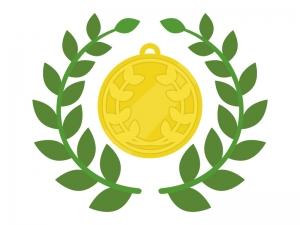 金メダルと月桂樹のイラスト