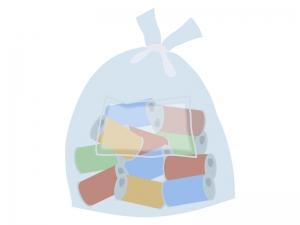 空き缶のゴミ袋のイラスト
