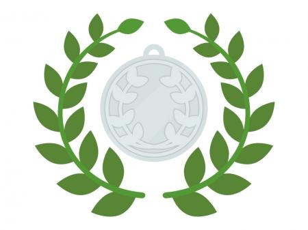 銀メダルと月桂樹のイラスト