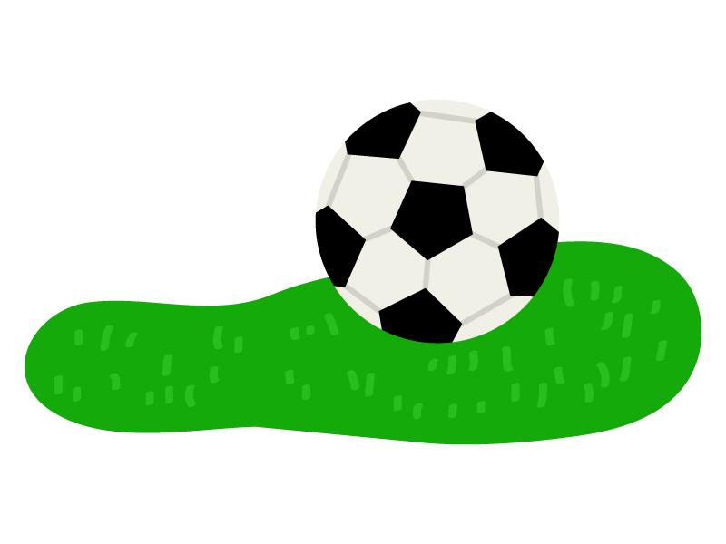 芝生とサッカーボールのイラスト