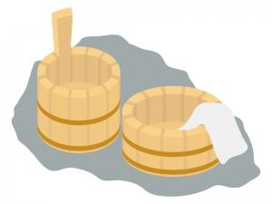 温泉・風呂桶のイラスト