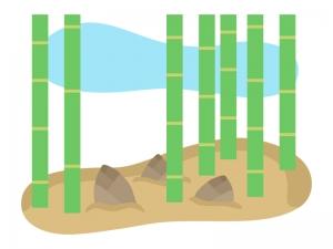 竹林と筍(たけのこ)のイラスト