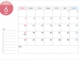A4横・2018年6月(平成30年)カレンダー・印刷用