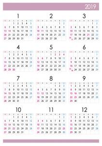 A4縦・2019年1月~12月の年間カレンダー