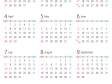 A4縦・2019年1月~12月の年間カレンダー02