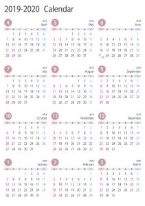 [4月始まり]2019年4月~2020年3月の年間カレンダー