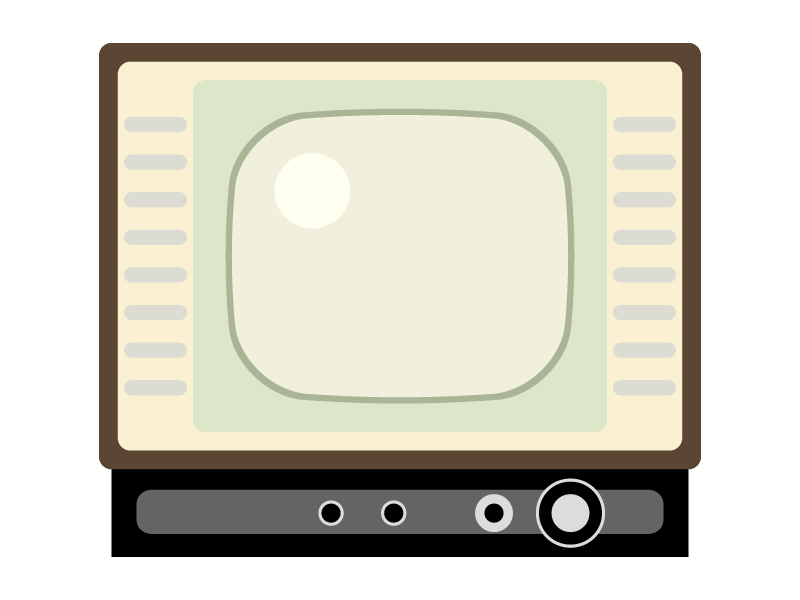 レトロなブラウン管テレビのイラスト