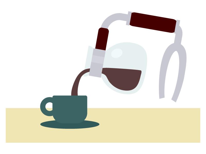 サイフォンで作るコーヒーのイラスト