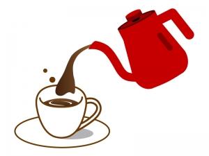 ポットでコーヒーを注ぐイラスト