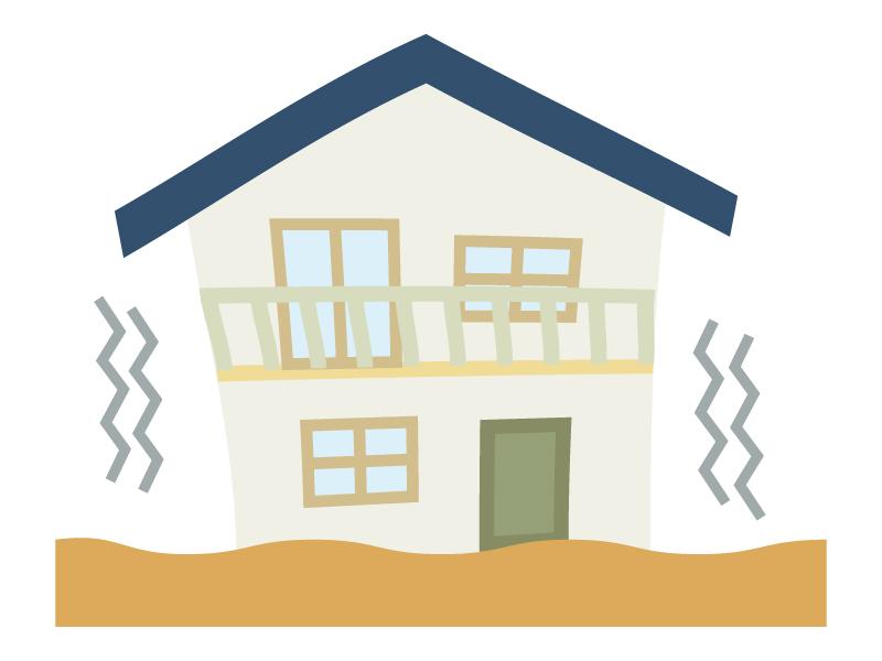 地震で家が揺れているイラスト