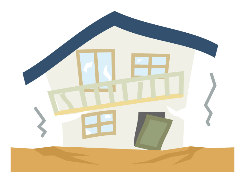 地震で家が揺れているイラスト02