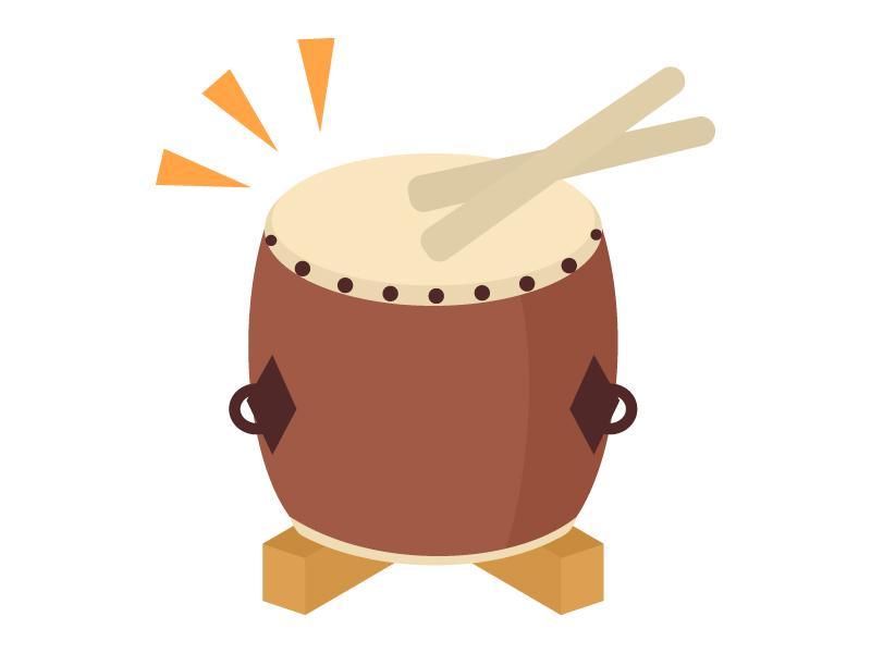 和太鼓を叩いているイラスト02