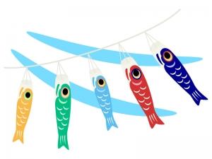 風になびく鯉のぼりのイラスト