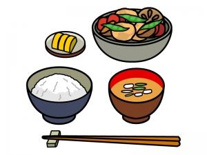 煮物の定食のイラスト