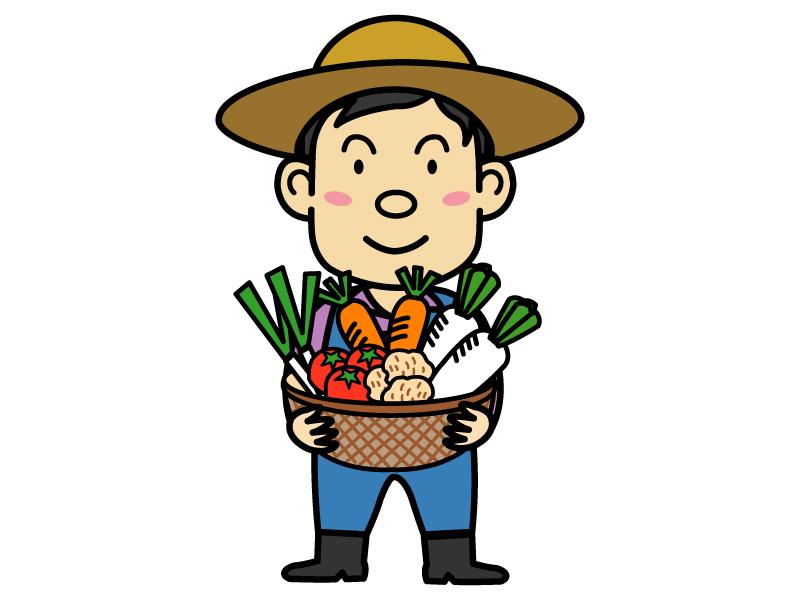 野菜の収穫と農家さんのイラスト