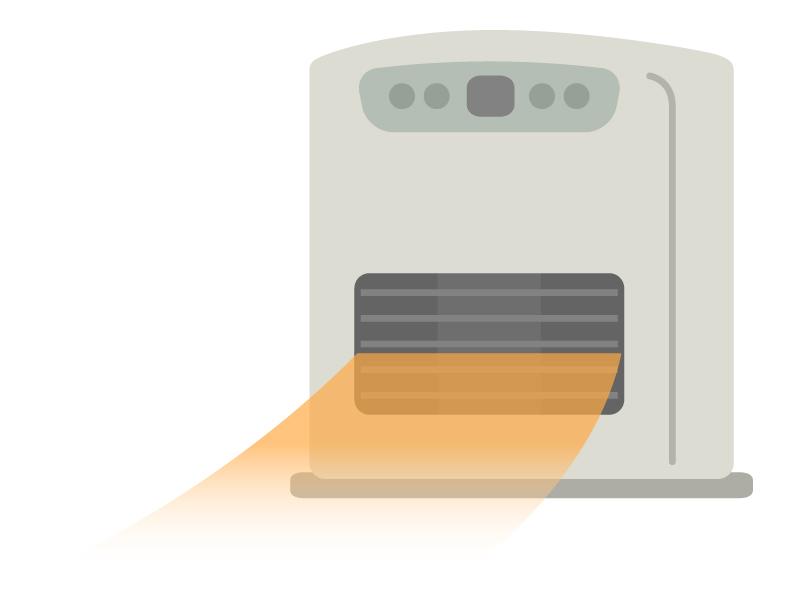 温風が出ている石油ファンヒーターのイラスト02