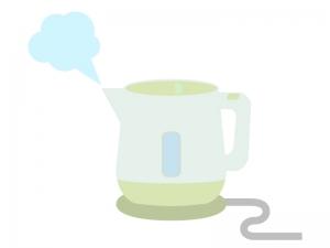 電気ポットでお湯を沸かすイラスト