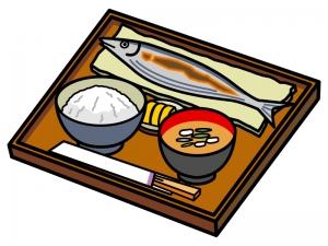 焼き魚・サンマ定食のイラスト